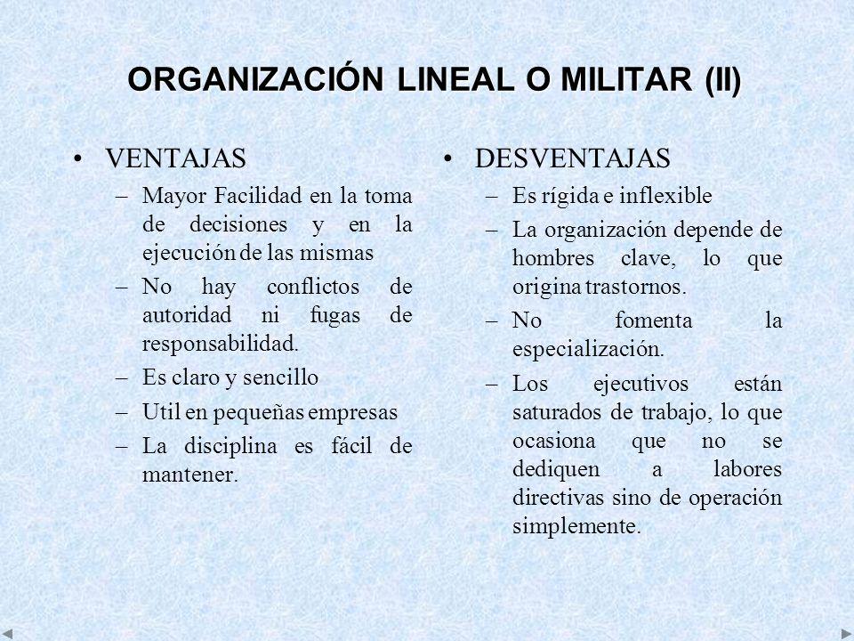 ORGANIZACIÓN LINEAL O MILITAR (II)