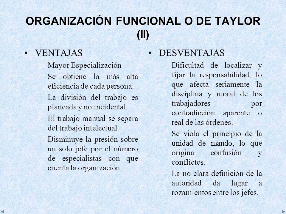 ORGANIZACIÓN FUNCIONAL O DE TAYLOR (II)