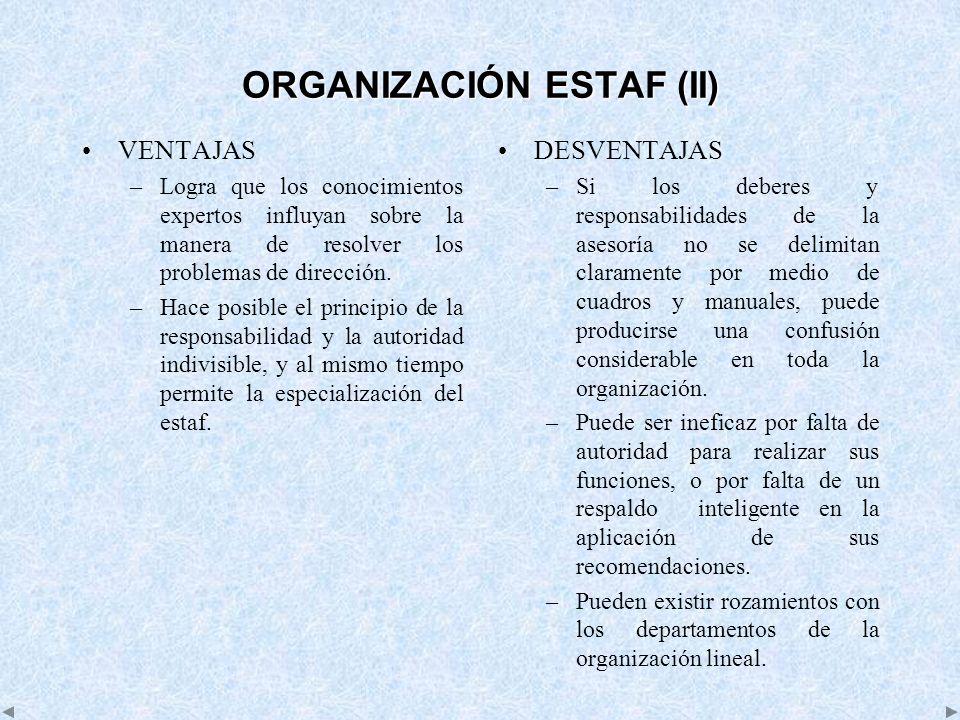ORGANIZACIÓN ESTAF (II)