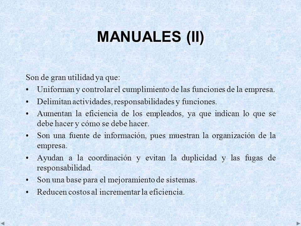 MANUALES (II) Son de gran utilidad ya que: