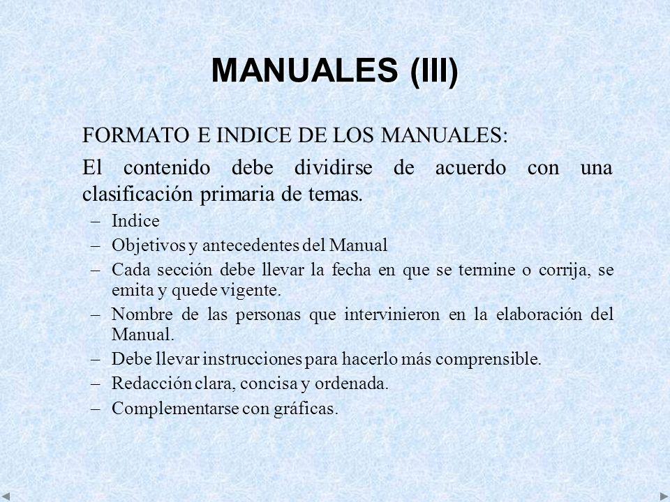 MANUALES (III) FORMATO E INDICE DE LOS MANUALES: