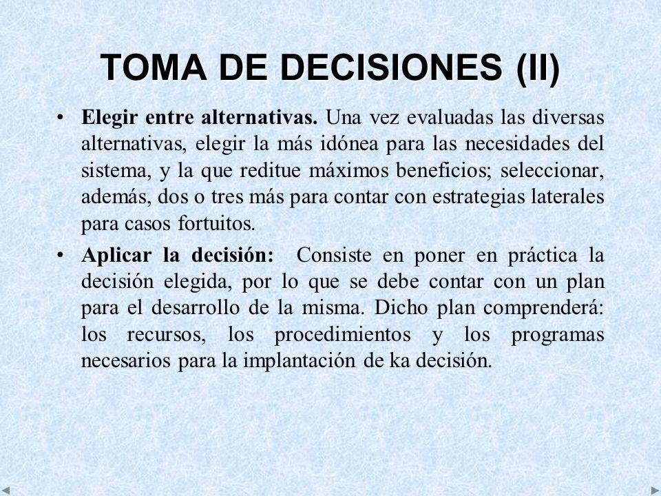 TOMA DE DECISIONES (II)