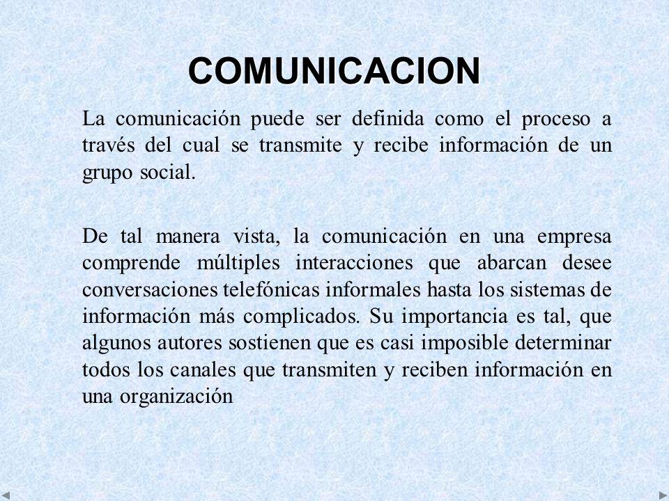 COMUNICACION La comunicación puede ser definida como el proceso a través del cual se transmite y recibe información de un grupo social.