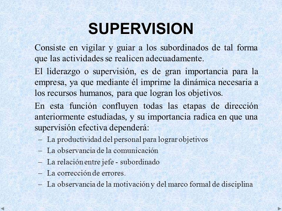 SUPERVISION Consiste en vigilar y guiar a los subordinados de tal forma que las actividades se realicen adecuadamente.