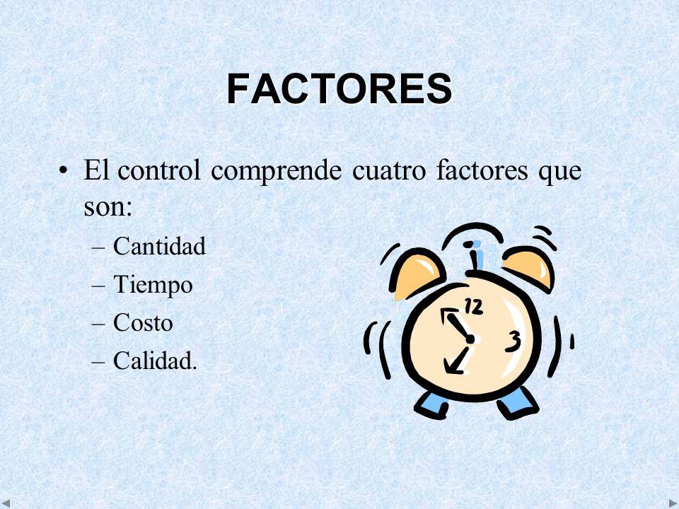 FACTORES El control comprende cuatro factores que son: Cantidad Tiempo