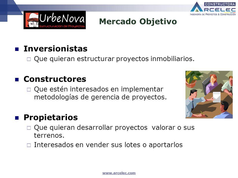 Mercado Objetivo Inversionistas Constructores Propietarios
