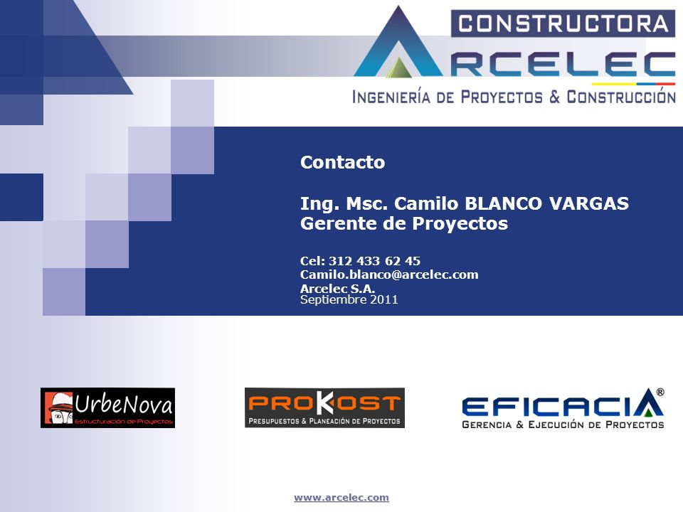 Ing. Msc. Camilo BLANCO VARGAS Gerente de Proyectos