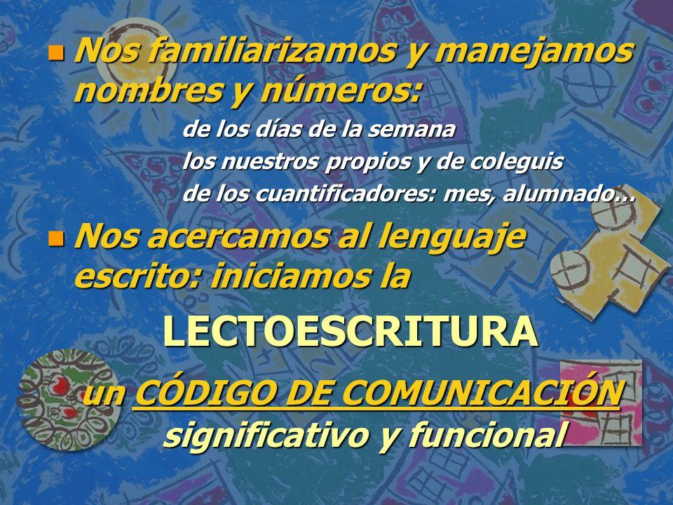 un CÓDIGO DE COMUNICACIÓN significativo y funcional