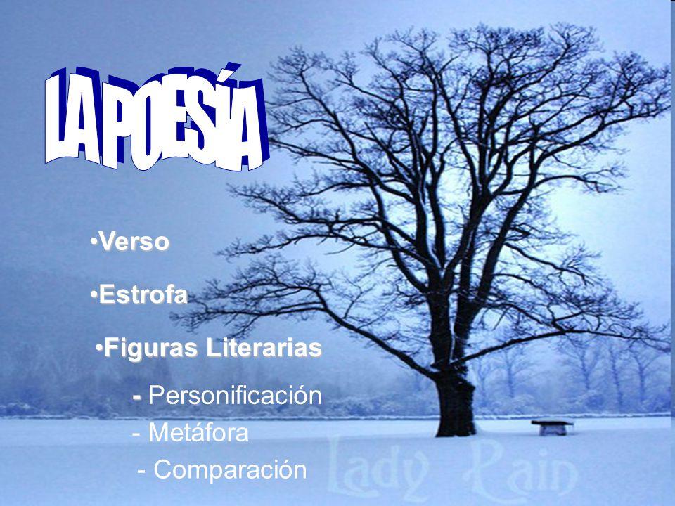 LA POESÍA Verso Estrofa Figuras Literarias - Personificación