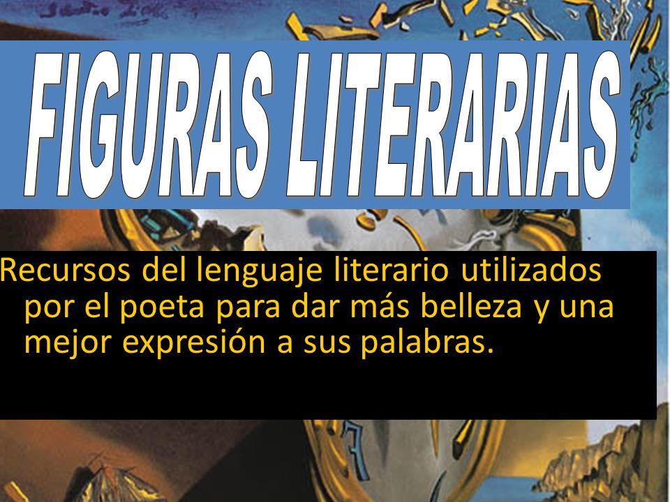 FIGURAS LITERARIAS Recursos del lenguaje literario utilizados por el poeta para dar más belleza y una mejor expresión a sus palabras.
