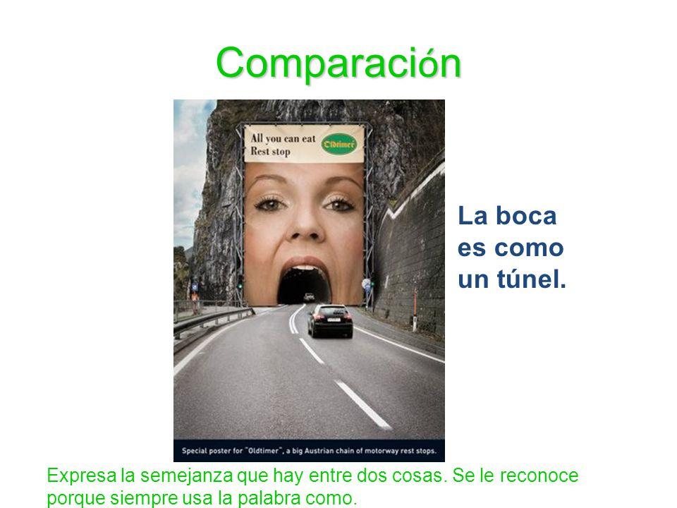 Comparación La boca es como un túnel.