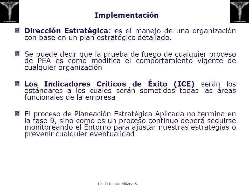 Implementación Dirección Estratégica: es el manejo de una organización con base en un plan estratégico detallado.