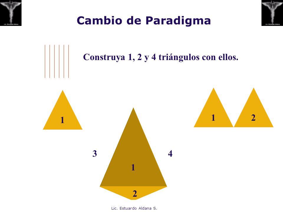 Cambio de Paradigma Construya 1, 2 y 4 triángulos con ellos. 1 2 1 1 3