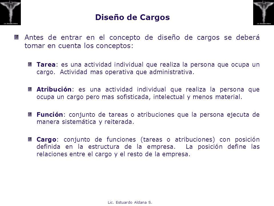 Diseño de Cargos Antes de entrar en el concepto de diseño de cargos se deberá tomar en cuenta los conceptos: