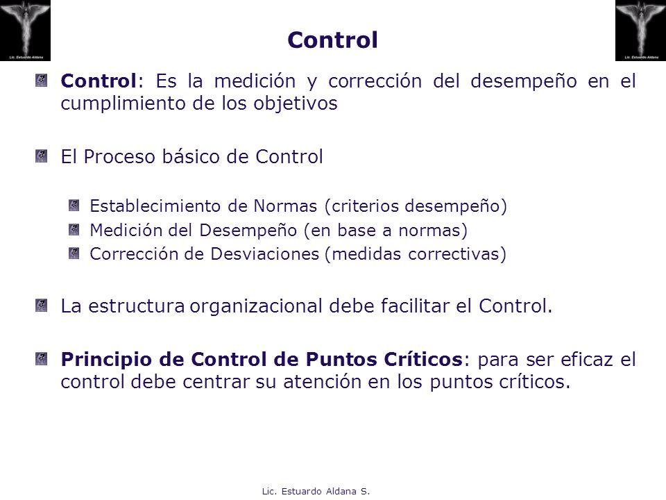 Control Control: Es la medición y corrección del desempeño en el cumplimiento de los objetivos. El Proceso básico de Control.