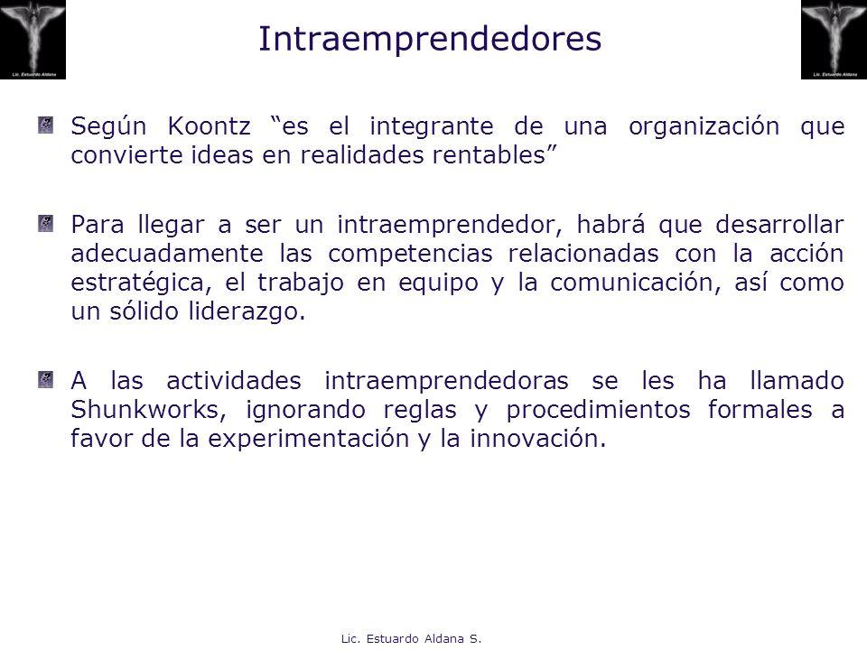 Intraemprendedores Según Koontz es el integrante de una organización que convierte ideas en realidades rentables