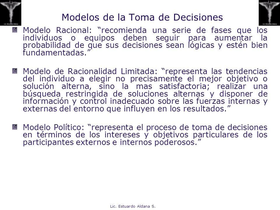 Modelos de la Toma de Decisiones
