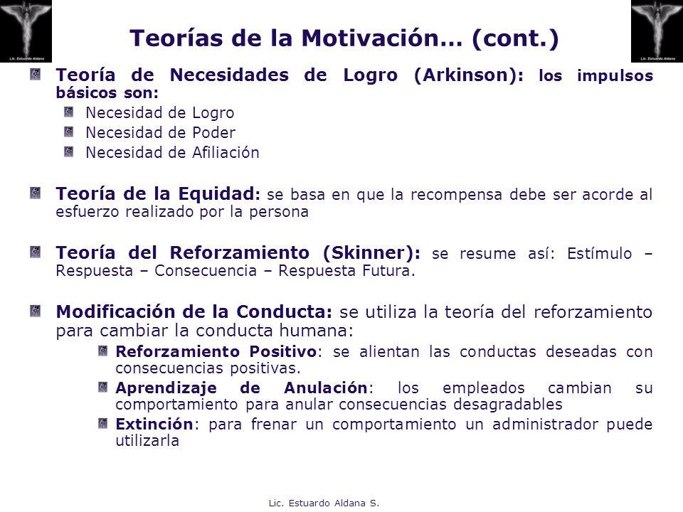Teorías de la Motivación… (cont.)
