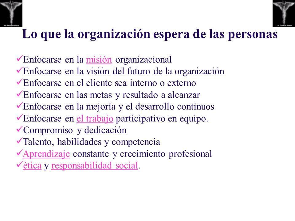 Lo que la organización espera de las personas