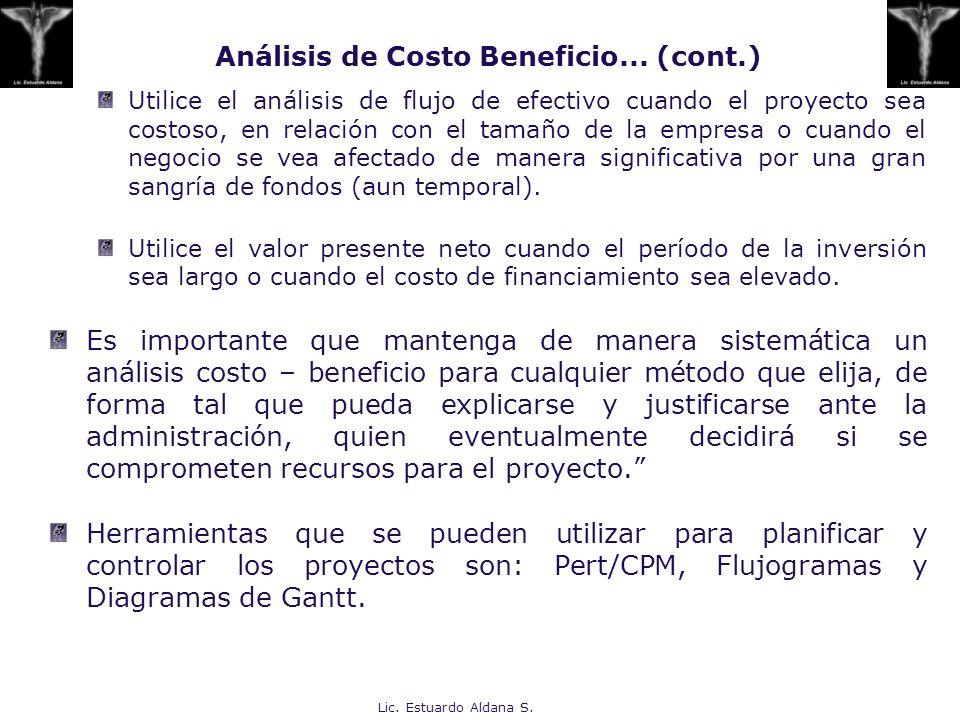 Análisis de Costo Beneficio... (cont.)