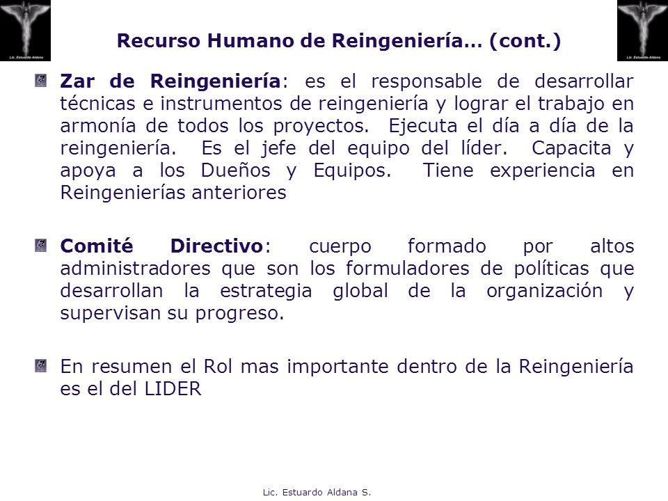 Recurso Humano de Reingeniería… (cont.)