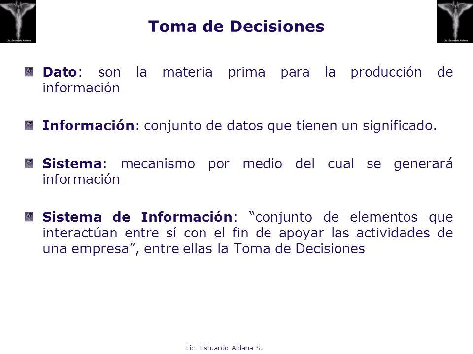 Toma de Decisiones Dato: son la materia prima para la producción de información. Información: conjunto de datos que tienen un significado.