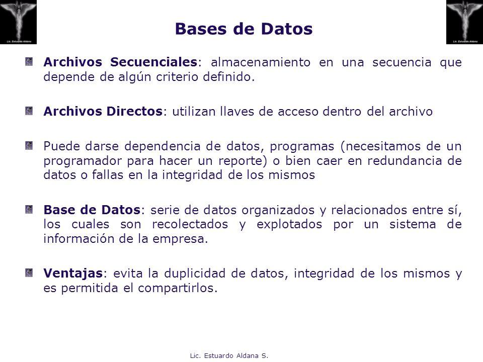 Bases de Datos Archivos Secuenciales: almacenamiento en una secuencia que depende de algún criterio definido.