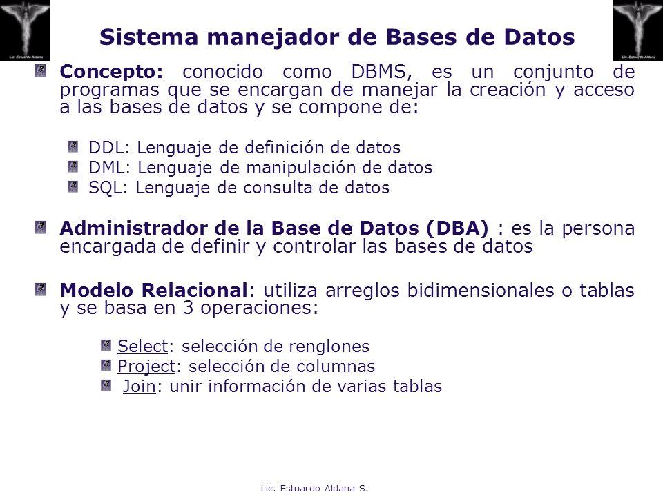 Sistema manejador de Bases de Datos
