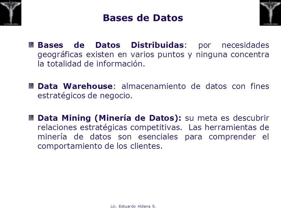 Bases de Datos Bases de Datos Distribuidas: por necesidades geográficas existen en varios puntos y ninguna concentra la totalidad de información.
