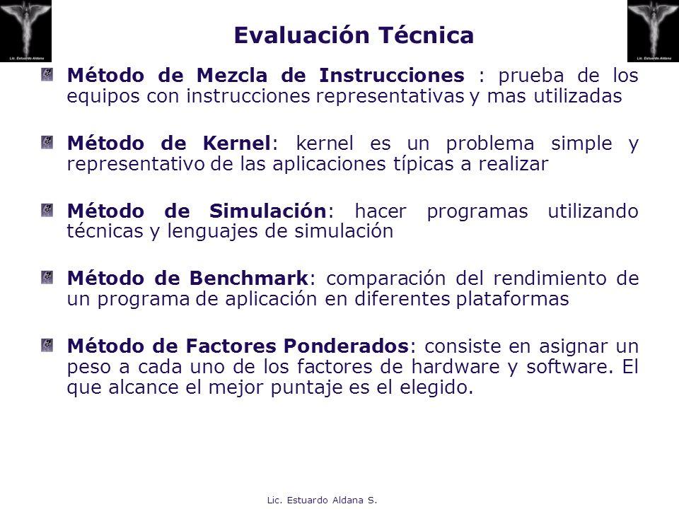 Evaluación TécnicaMétodo de Mezcla de Instrucciones : prueba de los equipos con instrucciones representativas y mas utilizadas.