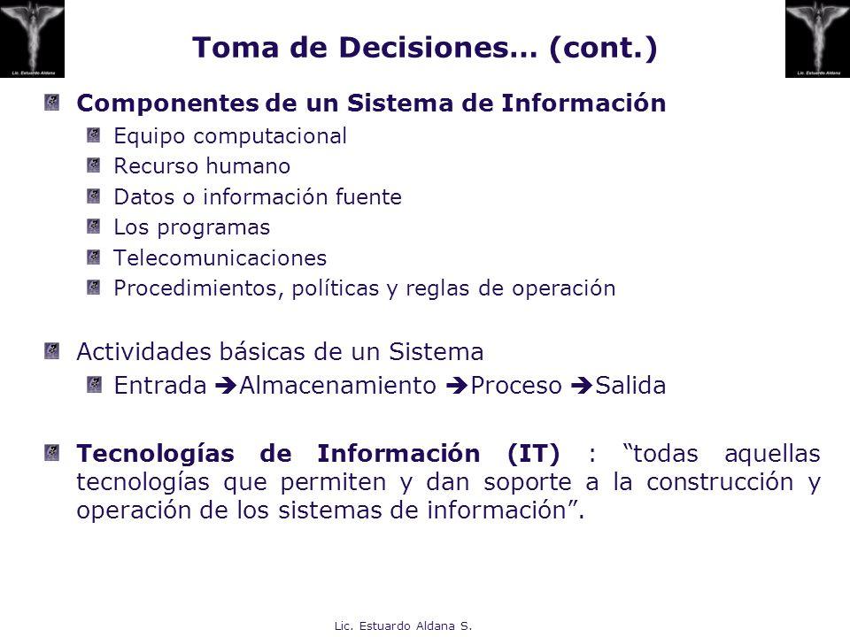 Toma de Decisiones… (cont.)