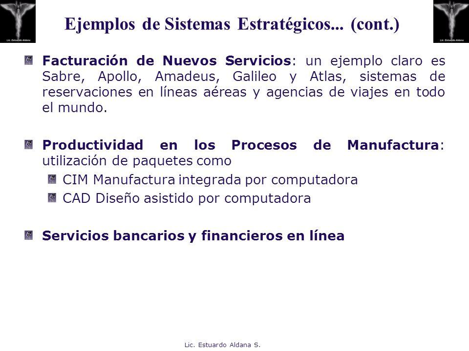 Ejemplos de Sistemas Estratégicos... (cont.)