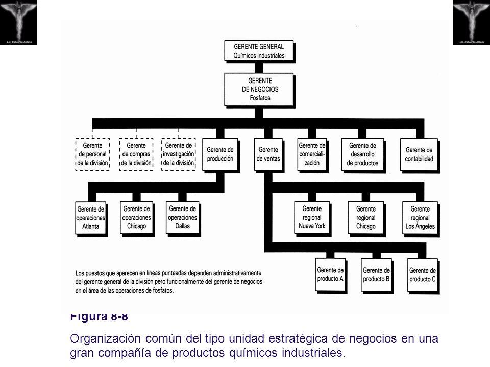 Figura 8-8 Organización común del tipo unidad estratégica de negocios en una gran compañía de productos químicos industriales.