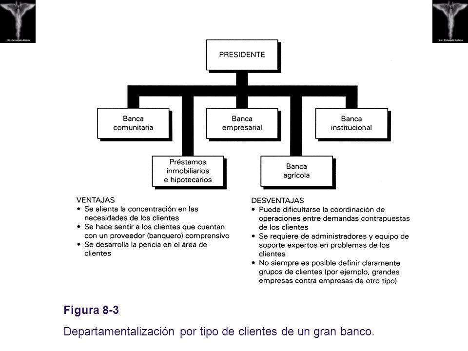 Figura 8-3 Departamentalización por tipo de clientes de un gran banco.