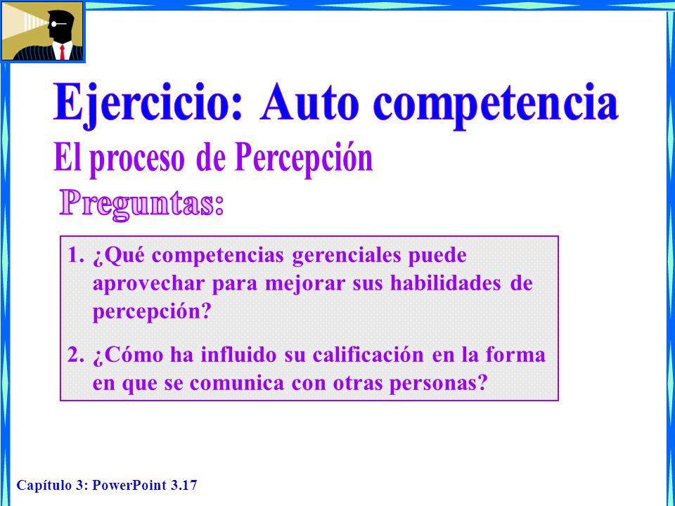 Ejercicio: Auto competencia El proceso de Percepción