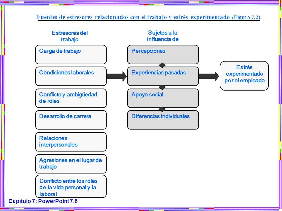 Carga de trabajo Fuentes de estresores relacionados con el trabajo y estrés experimentado (Figura 7.2)