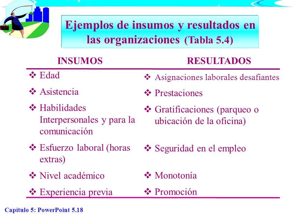 Ejemplos de insumos y resultados en las organizaciones (Tabla 5.4)