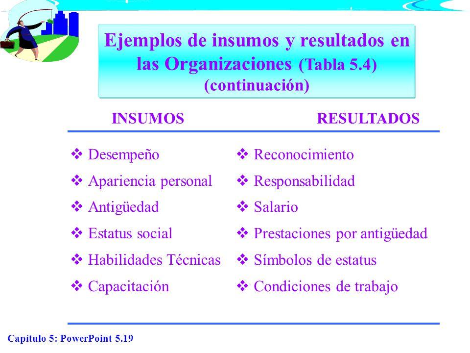 Ejemplos de insumos y resultados en las Organizaciones (Tabla 5.4) (continuación)INSUMOS. RESULTADOS.