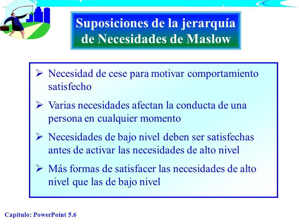 Suposiciones de la jerarquía de Necesidades de Maslow