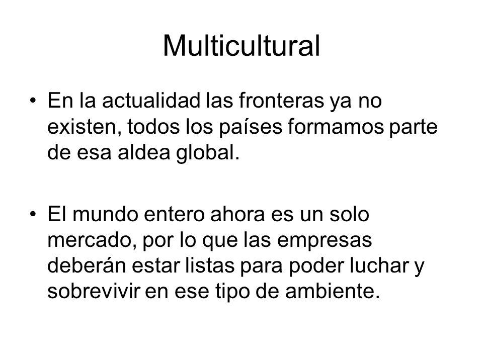 Multicultural En la actualidad las fronteras ya no existen, todos los países formamos parte de esa aldea global.