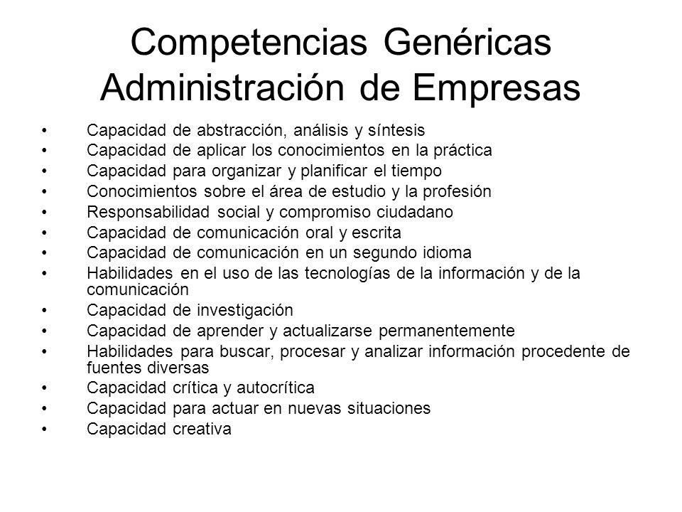 Competencias Genéricas Administración de Empresas