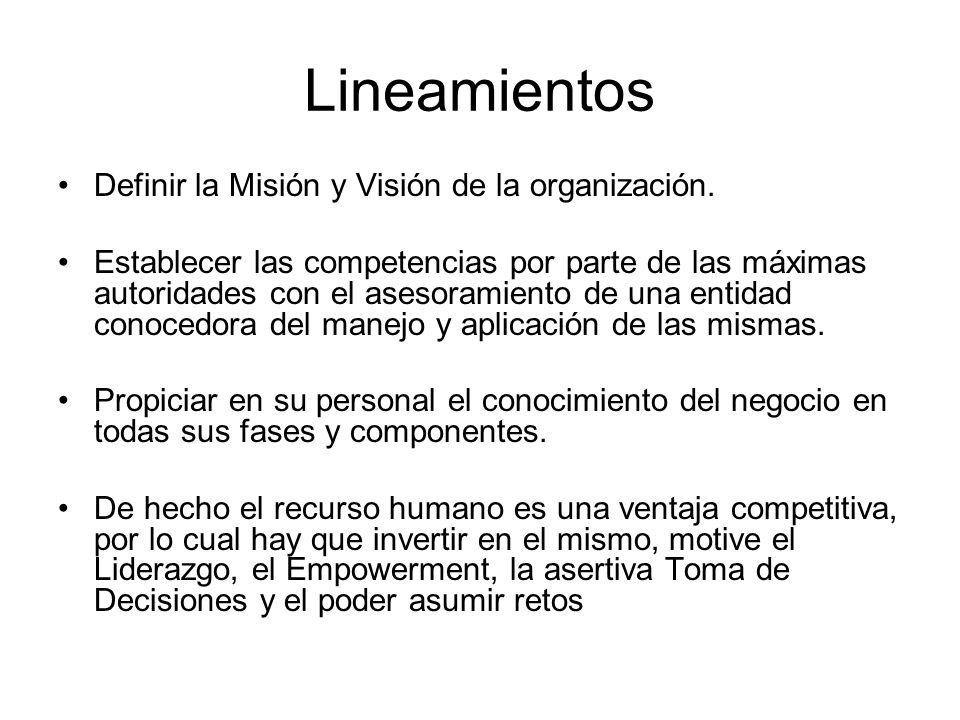Lineamientos Definir la Misión y Visión de la organización.