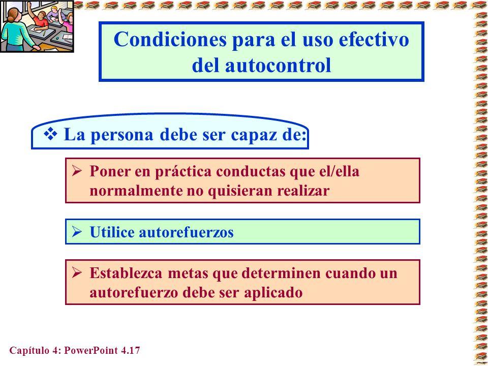 Condiciones para el uso efectivo del autocontrol