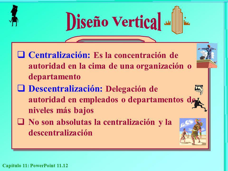 Diseño Vertical Centralización: Es la concentración de autoridad en la cima de una organización o departamento.