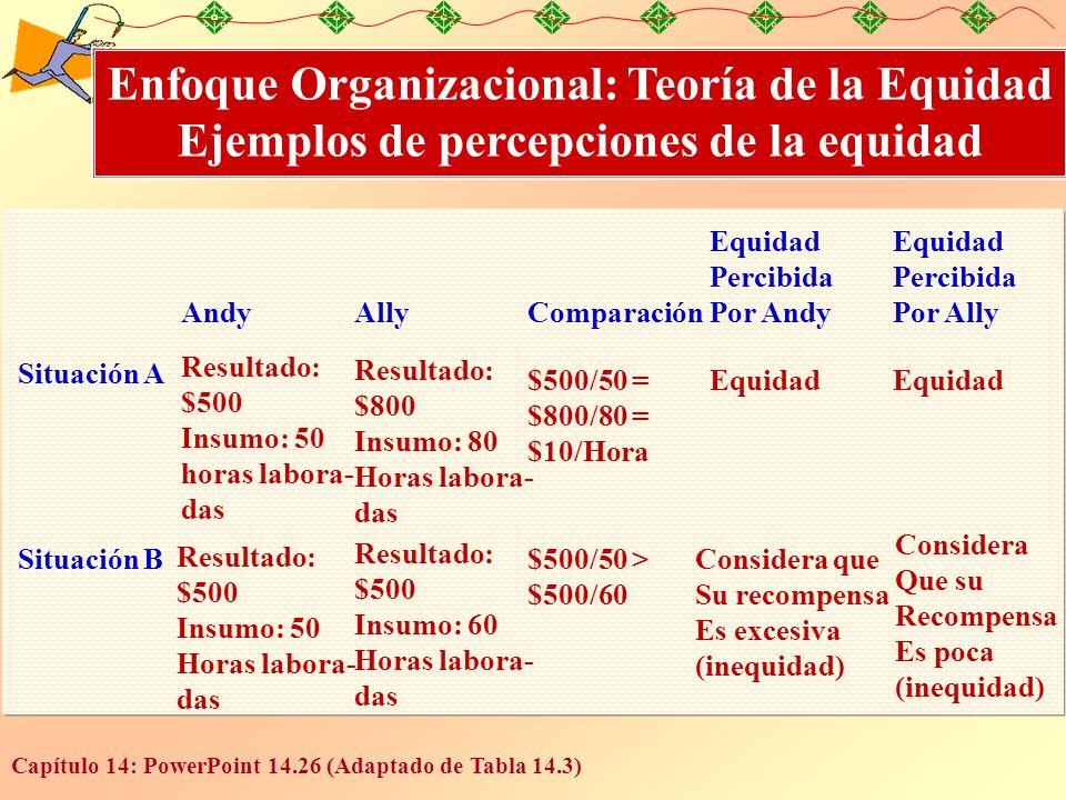 Enfoque Organizacional: Teoría de la Equidad Ejemplos de percepciones de la equidad