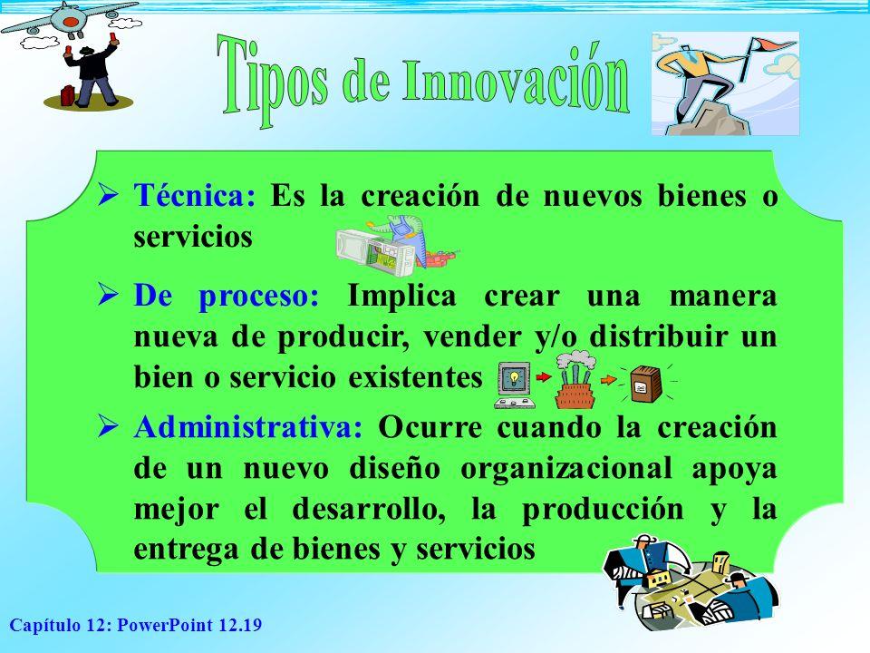 Tipos de Innovación Técnica: Es la creación de nuevos bienes o servicios.