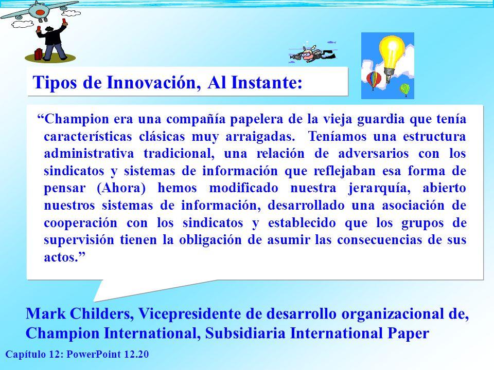 Tipos de Innovación, Al Instante: