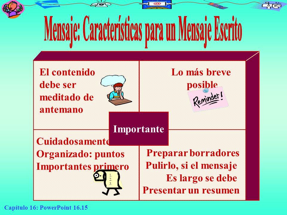 Mensaje: Características para un Mensaje Escrito