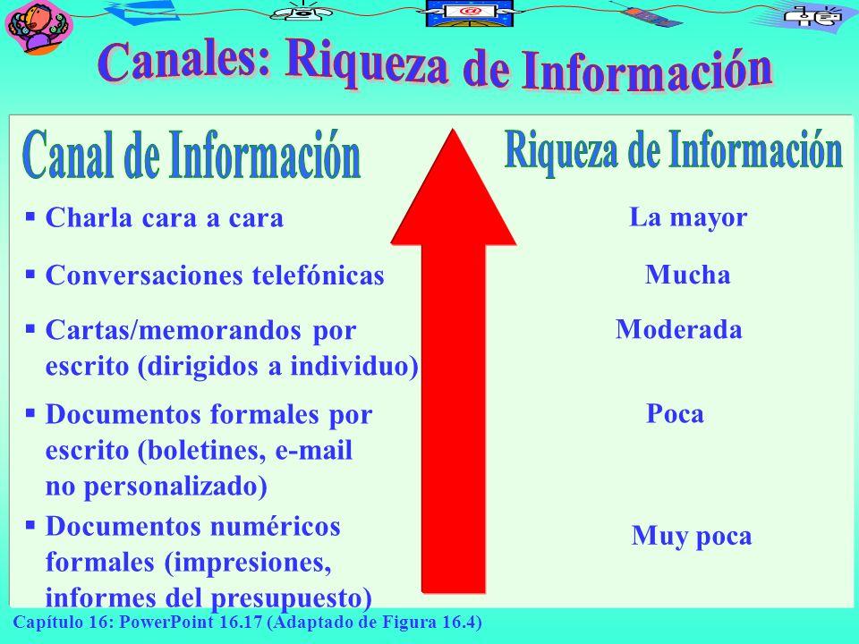 Canales: Riqueza de Información Riqueza de Información