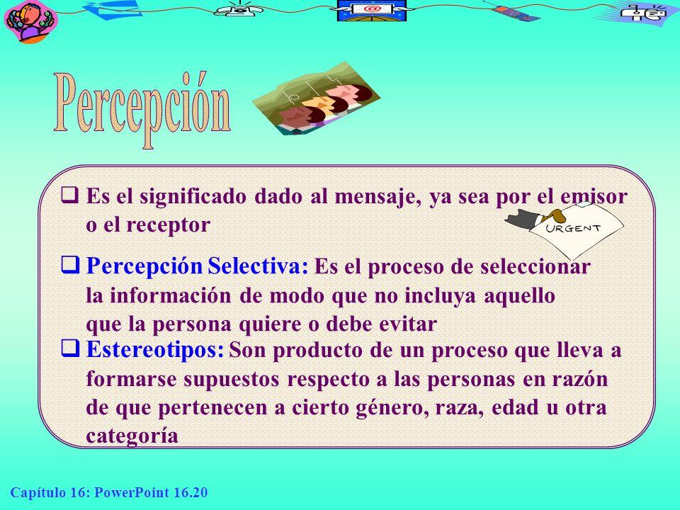 Percepción Es el significado dado al mensaje, ya sea por el emisor o el receptor.